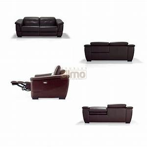 canape contemporain relax cuir vachette tetieres With canape cuir tetieres relevables