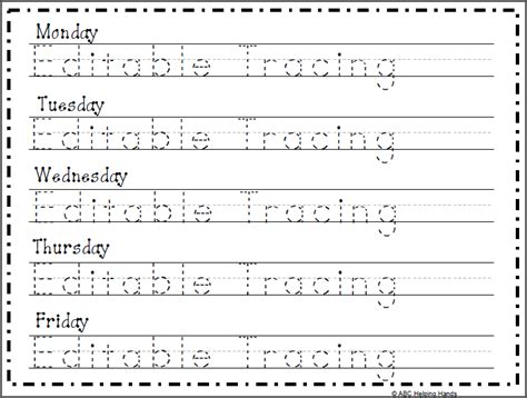 editable  tracing worksheet  day kindergarten