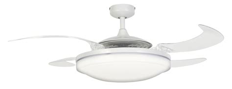 retractable blade ceiling fan with light ceiling fan fanaway evo2 endure white 122 cm 48 quot with