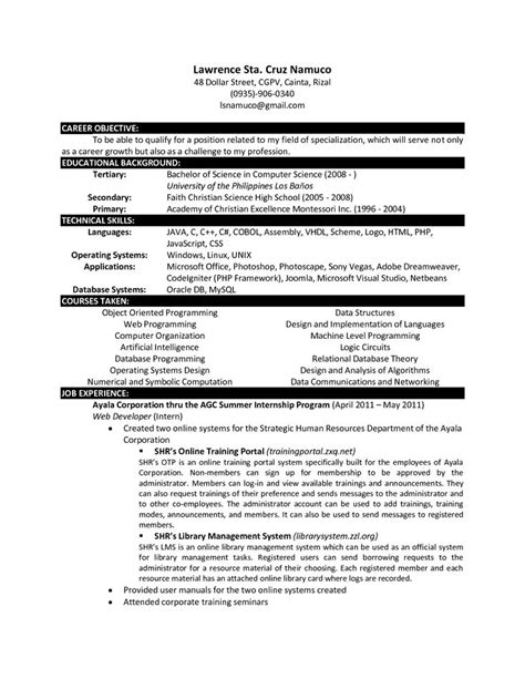computer science resume templates httpwww