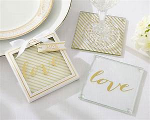 gold love glass coaster my wedding favors With glass coasters wedding favors