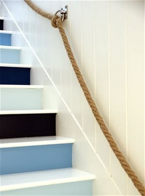 nautical rope stair railing  rope bannister ideas