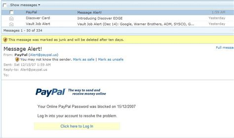 ANOTHER Paypal message alert phishing email looks real