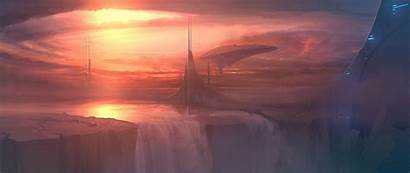 Futuristic Science Fiction Structure Artwork Waterfalls Wallpapers