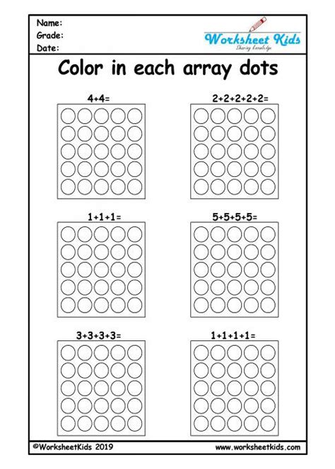 repeated addition arrays activities  year