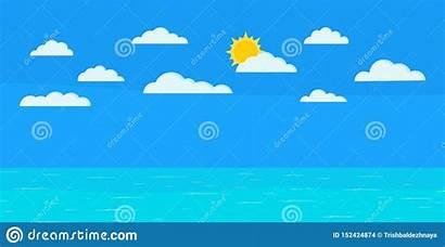 Seascape Ocean Calm Clouds Sun Sky Cartoon