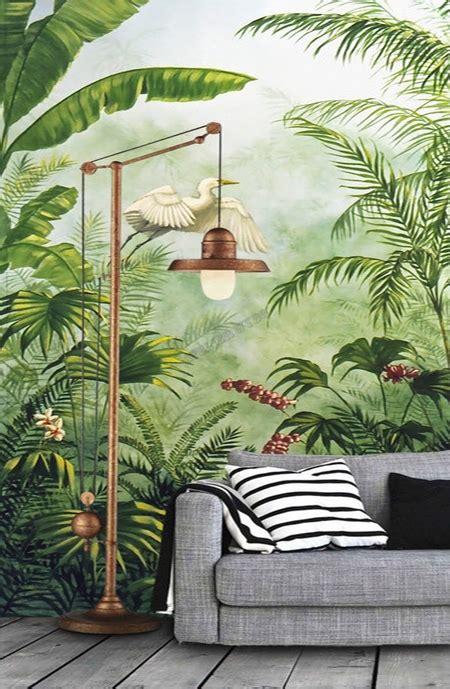 panneau jungle oiseau tropical tapisserie bananier palmier papier peint sol