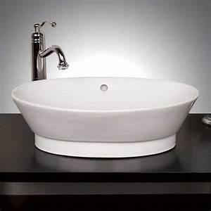 Bathroom: Vessel Sinks With Black Countertop Design And