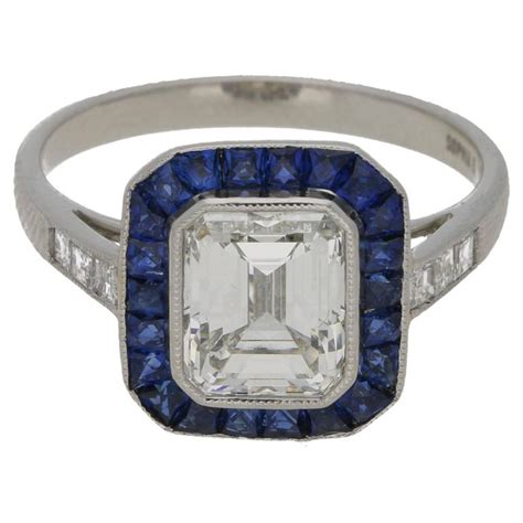 emerald cut 2 03 carat deco style engagement ring for sale at 1stdibs
