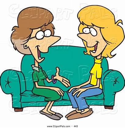 Chat Clipart Cartoon Talkative Sitting Sofa Pair