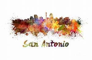 San Antonio Skyline In Watercolor Painting by Pablo Romero