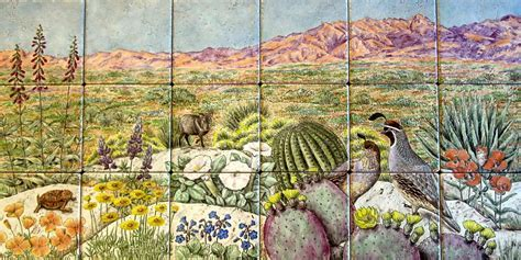 Desert Scenery Wildlife Decorative Painted Tile Murals
