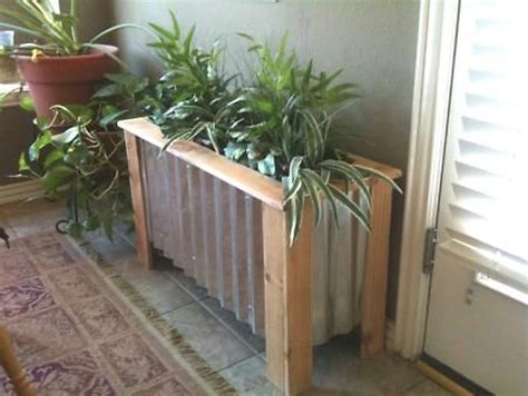 wood plank  tin planter box link multiple boxes