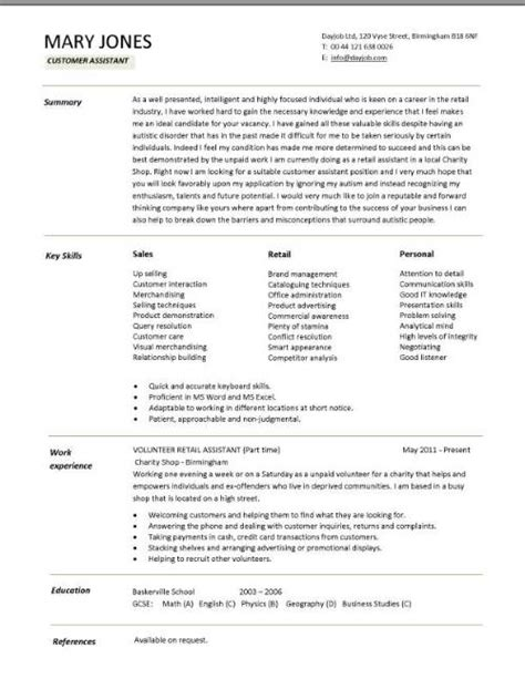 customer assistant cv template sales retail up selling