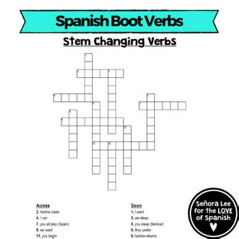 Spanish Stem Changing Verbs Spanish Boot Verbs Crossword Tpt