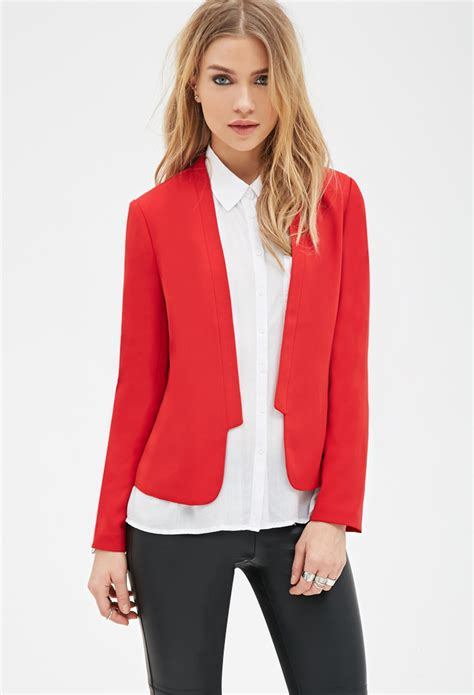 Forever 21 Collarless Open Front Blazer In Red Lyst