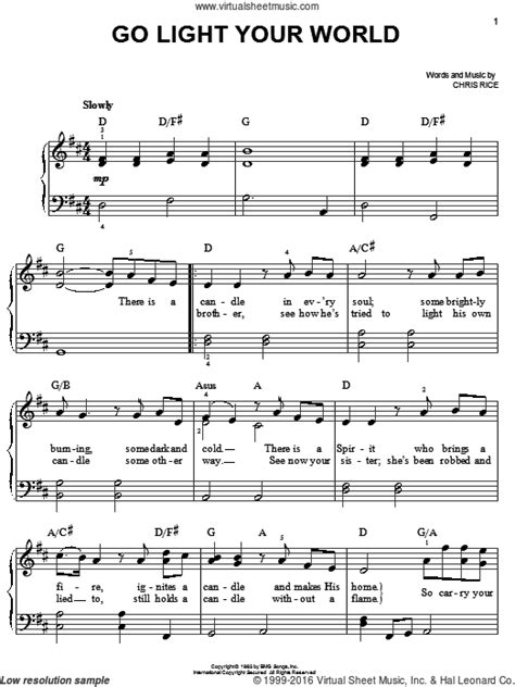 troccoli go light your world sheet music for piano solo