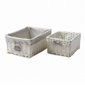 Panier En Osier Casa : 2 paniers tress s en osier blanc l 25 et l 31 cm th ophile ~ Dailycaller-alerts.com Idées de Décoration