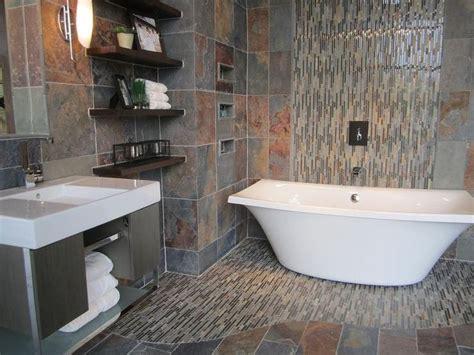Slate Bathroom With Slate And Glass Mosaic Freestanding