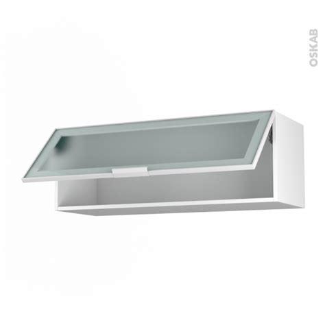cuisine montage gratuit meuble haut abattant h35 façade blanche alu vitrée 1 porte