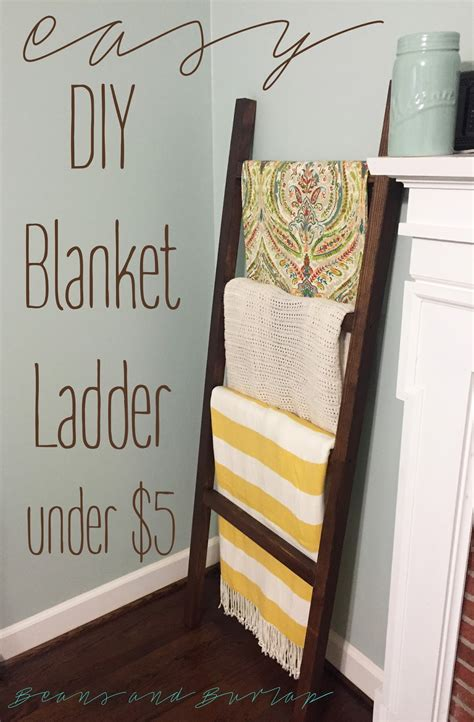 beans  burlap easy diy blanket ladder