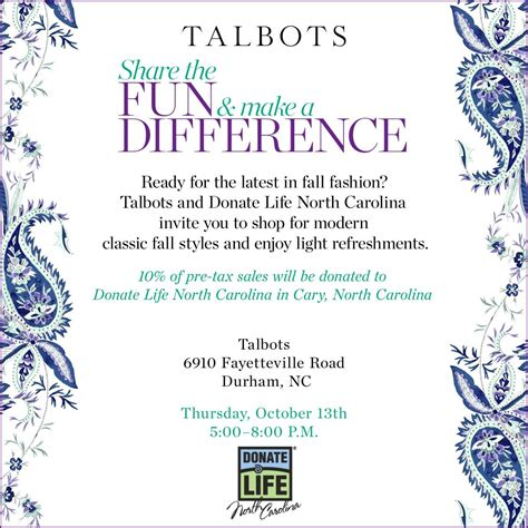 Talbots Fundraiser Night At Southpoint Mall Donate Life Nc
