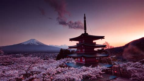 churei tower mount fuji  japan   hd