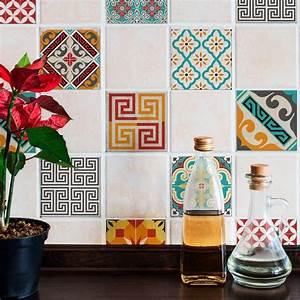 Stickers Carreaux Cuisine : 9 stickers carreaux de ciment azulejos violetta cuisine ~ Preciouscoupons.com Idées de Décoration