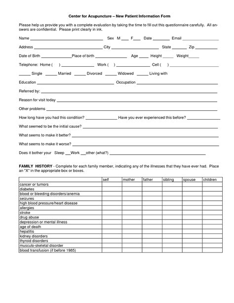 acupuncture patient intake forms intake forms acupuncture health and clinic