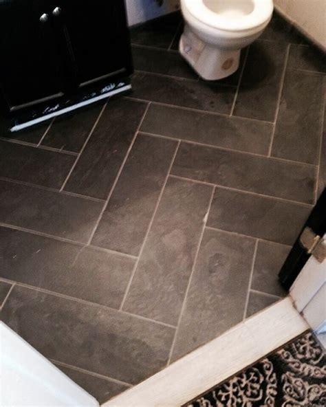 black slate herringbone floor tile  link renovations
