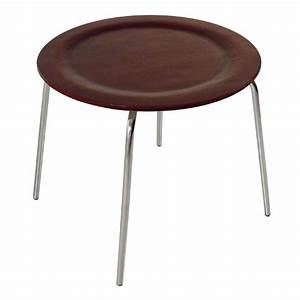 bentwood round shaped mahagony coffee table with chrome With wood coffee table with chrome legs