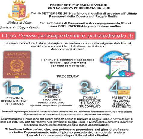 questura di reggio emilia ufficio immigrazione passaporto elettronico comune di scandiano
