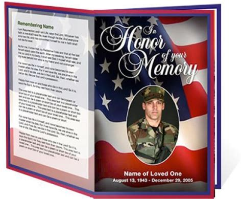 military  patriotic funeral program template created