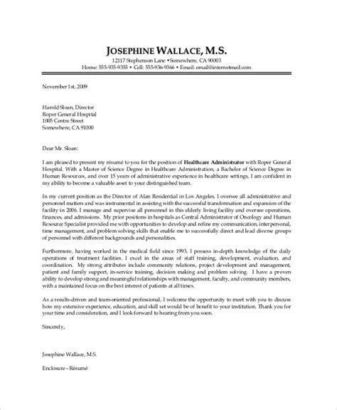 Cover Letter Health Care Administration by Sle Health Administrator Cover Letter