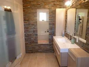 Parement Salle De Bain : salle de bain parement pierre fa on briques meubles ~ Dailycaller-alerts.com Idées de Décoration