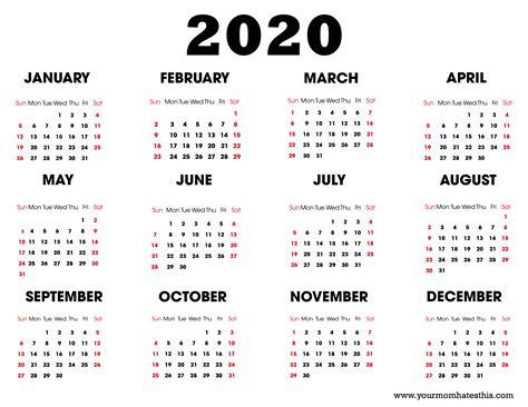 Download Templates Of Calendar 2020