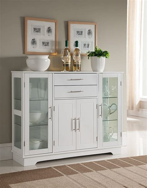 kings brand kitchen storage cabinet buffet  glass