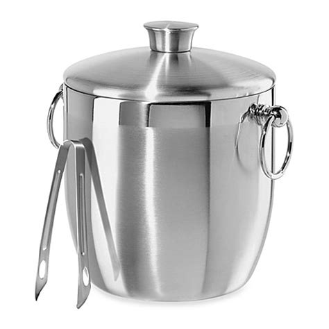 oggi stainless steel double wall ice bucket  tongs