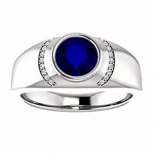 7mm Blue Sapphire & Diamond Men's Ring 14k White Gold, Men ...