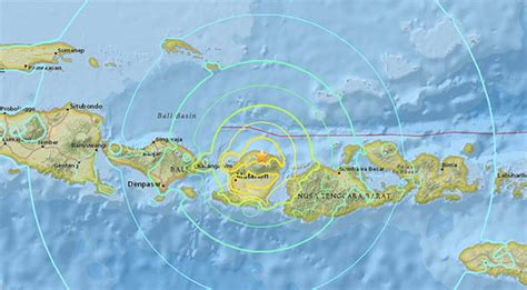 bali earthquake map usgs tremor maps show huge impact