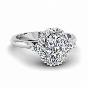 floral prong diamond engagement ring in 14k white gold With oval shaped wedding ring