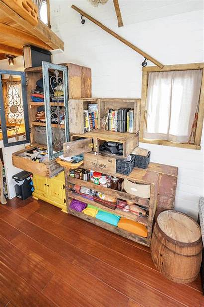 Tiny Staircase Crate Interior Storage Giant Reclaimed