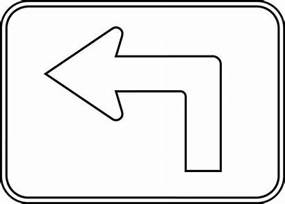 Turn Left Arrow Clipart Outline Coloring Turning