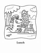 Coloring Eating Lunch Dinosaur Lucy Yum Printable Sheets Printables Characters Snoopy sketch template
