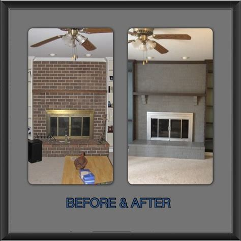 """Our """"New"""" Painted Brick Fireplace and Screen"""