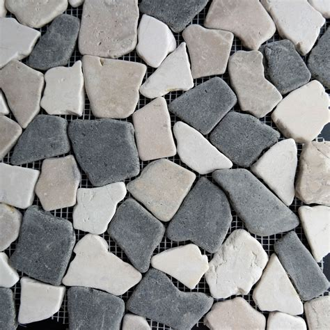flat pebble mosaic tile beige black flat pebble mosaic