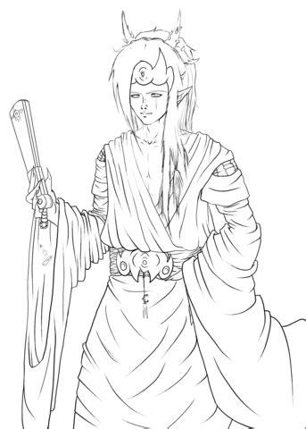 Fantasy Anime Character Feeon by Gabriela Gogonea coloring