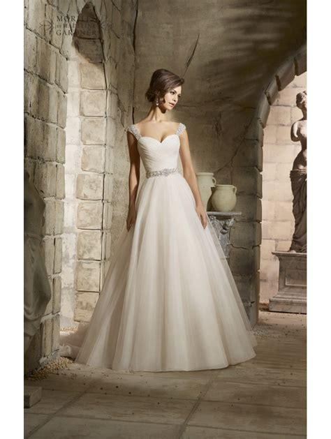 Draped Wedding Dresses - mori 5375 draped bodice tulle gown style of