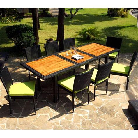 chaises mobilier de mobilier de jardin en teck et resine tressee ensemble de