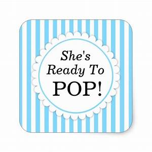 She39s ready to pop square sticker blue stripes zazzle for Shes ready to pop stickers